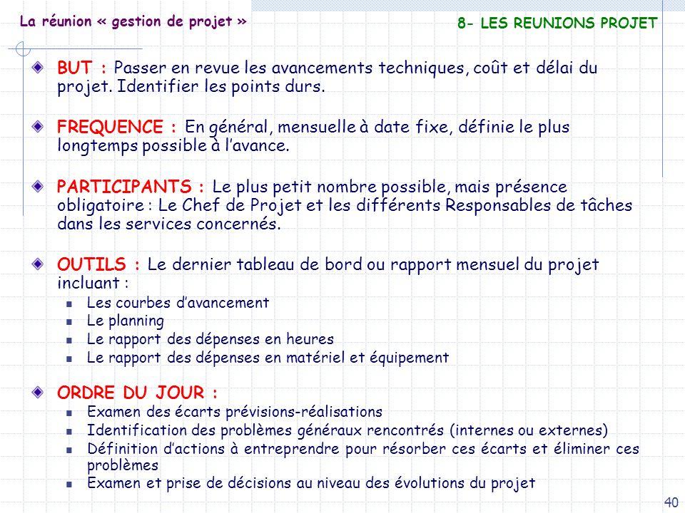 40 La réunion « gestion de projet » BUT : Passer en revue les avancements techniques, coût et délai du projet. Identifier les points durs. FREQUENCE :