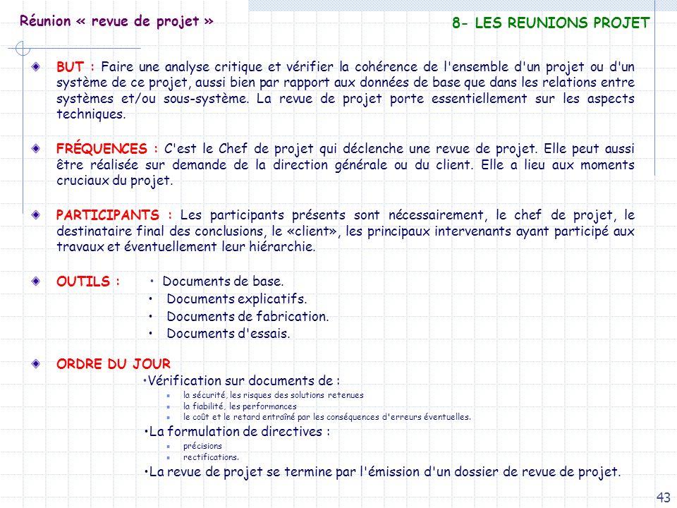 43 Réunion « revue de projet » BUT : Faire une analyse critique et vérifier la cohérence de l'ensemble d'un projet ou d'un système de ce projet, aussi