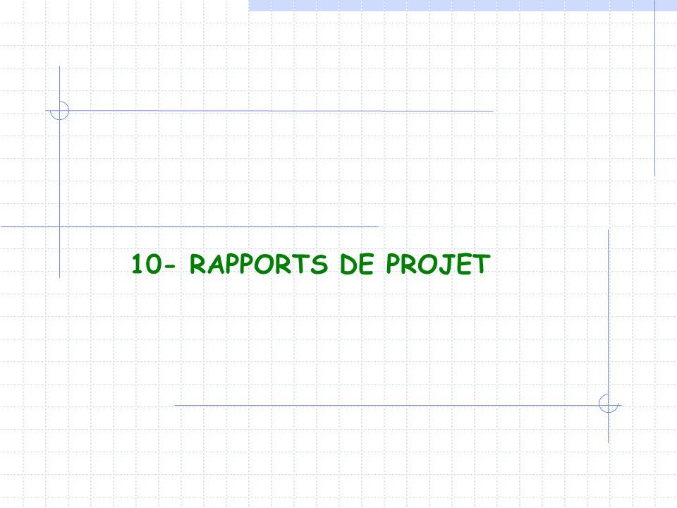 10- RAPPORTS DE PROJET