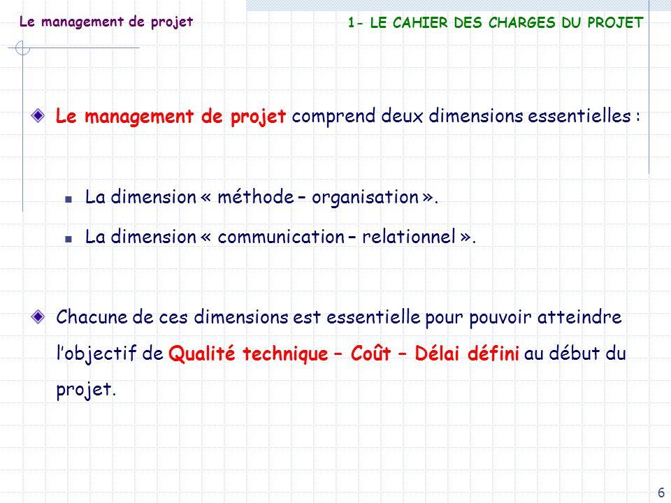 6 Le management de projet Le management de projet comprend deux dimensions essentielles : La dimension « méthode – organisation ». La dimension « comm