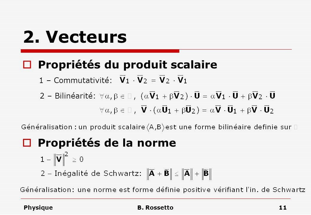 PhysiqueB. Rossetto11 2. Vecteurs Propriétés du produit scalaire 1 – Commutativité: 2 – Bilinéarité: Propriétés de la norme