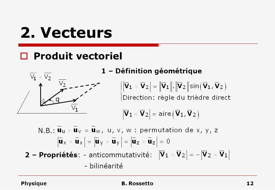 PhysiqueB. Rossetto12 2. Vecteurs Produit vectoriel 1 – Définition géométrique q N.B.: 2 – Propriétés: - anticommutativité: - bilinéarité