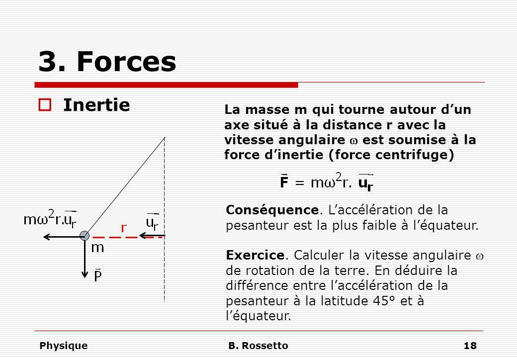 PhysiqueB. Rossetto18 3. Forces Inertie La masse m qui tourne autour dun axe situé à la distance r avec la vitesse angulaire est soumise à la force di