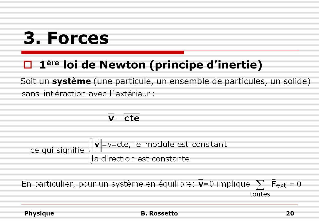 PhysiqueB. Rossetto20 3. Forces 1 ère loi de Newton (principe dinertie) Soit un système (une particule, un ensemble de particules, un solide)