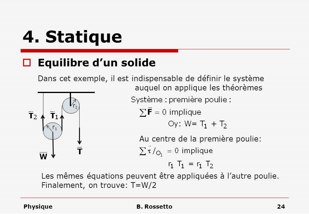 PhysiqueB. Rossetto24 4. Statique Equilibre dun solide r1r1 Au centre de la première poulie: Dans cet exemple, il est indispensable de définir le syst