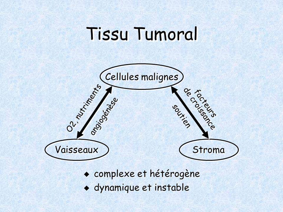 Tissu Tumoral complexe et hétérogène complexe et hétérogène dynamique et instable dynamique et instable Cellules malignes Vaisseaux Stroma O2, nutriments angiogénèse soutien facteurs de croissance