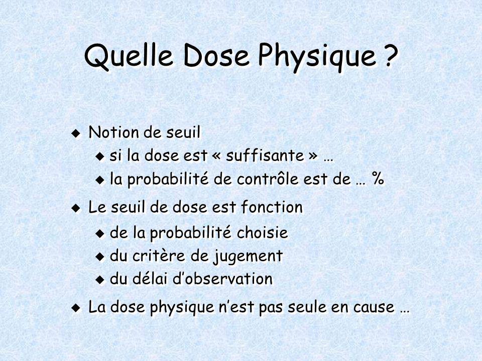 Quelle Dose Physique ? Notion de seuil Notion de seuil u si la dose est « suffisante » … u la probabilité de contrôle est de … % Le seuil de dose est