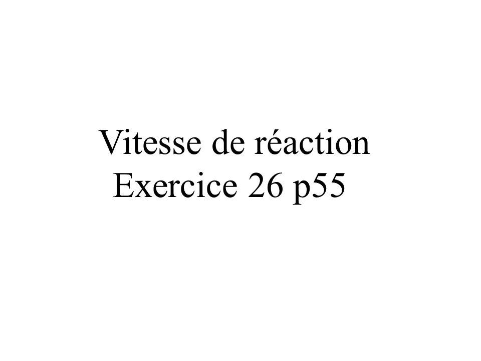 Vitesse de réaction Exercice 26 p55