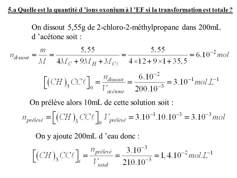 5.a Quelle est la quantité d ions oxonium à l EF si la transformation est totale ? On dissout 5,55g de 2-chloro-2-méthylpropane dans 200mL d acétone s
