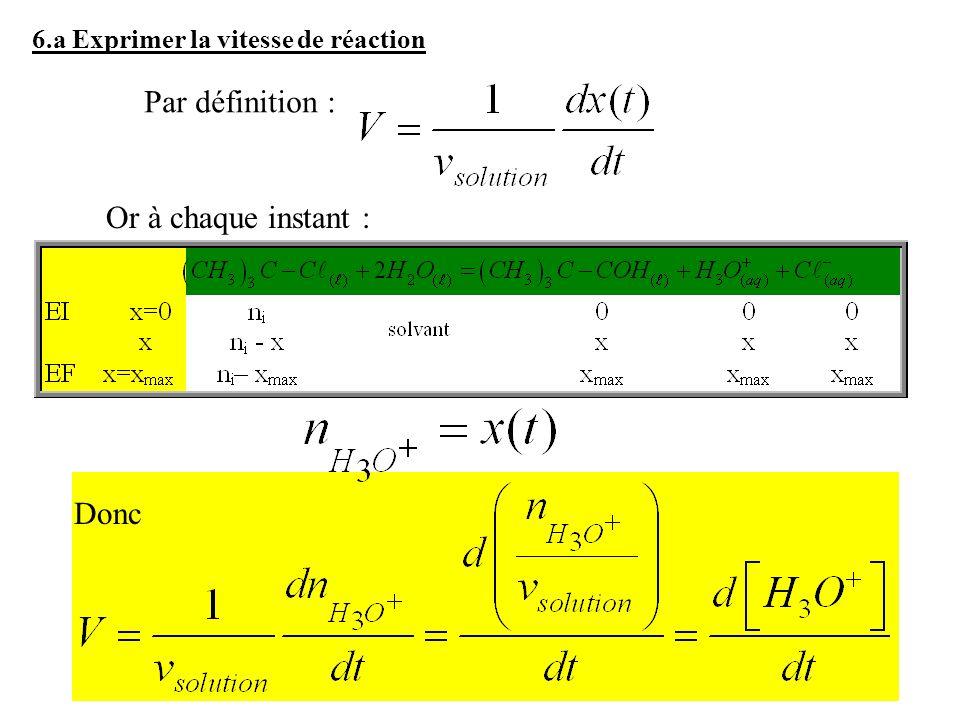 6.a Exprimer la vitesse de réaction Par définition : Or à chaque instant : Donc