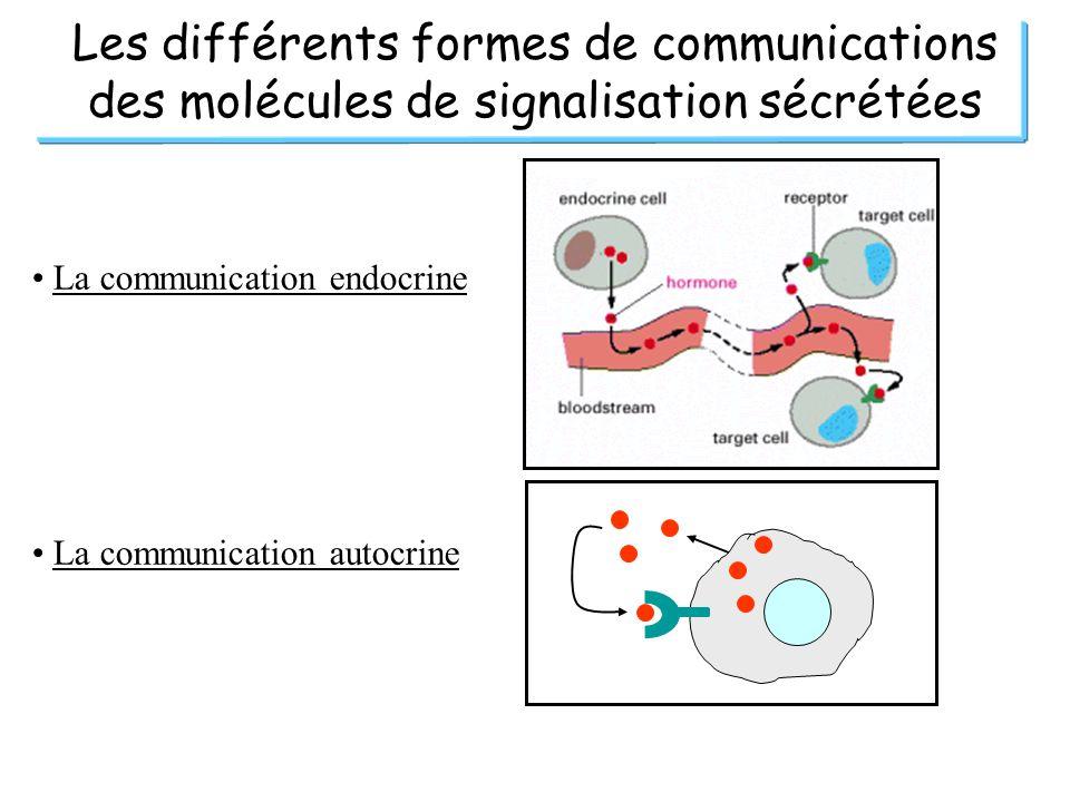 Les différents formes de communications des molécules de signalisation sécrétées La communication endocrine La communication autocrine
