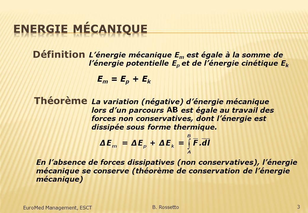 E m = E p + E k Définition EuroMed Management, ESCT B. Rossetto Lénergie mécanique E m est égale à la somme de lénergie potentielle E p et de lénergie