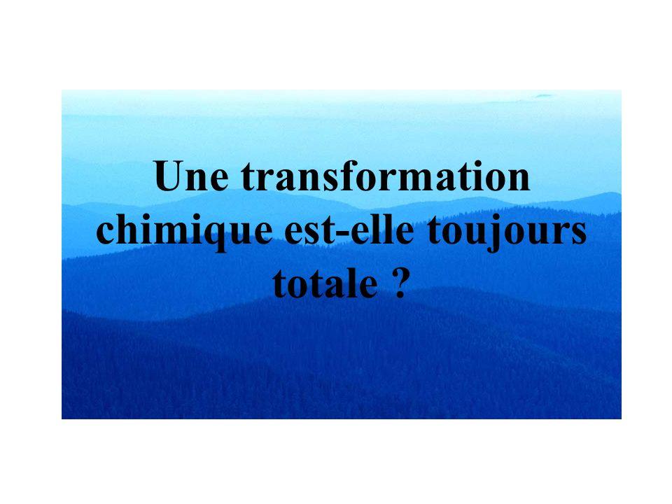Une transformation chimique est-elle toujours totale ?