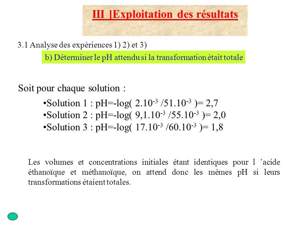 III ]Exploitation des résultats 3.1 Analyse des expériences 1) 2) et 3) b) Déterminer le pH attendu si la transformation était totale Le pH attendu es