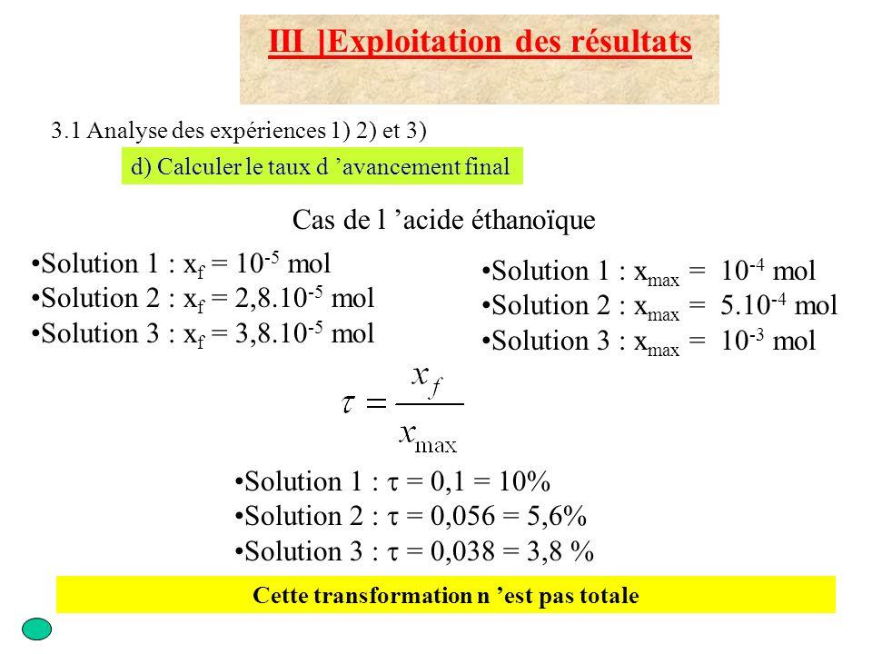 III ]Exploitation des résultats 3.1 Analyse des expériences 1) 2) et 3) d) Calculer le taux d avancement final Solution 1 : x f = 10 -4 mol Solution 2