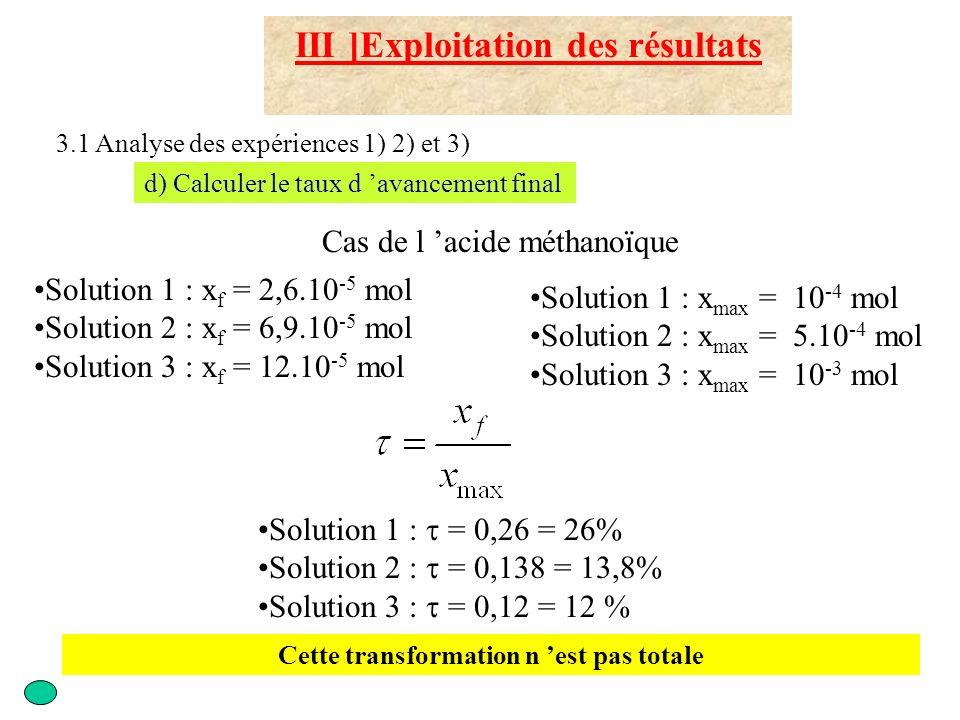 III ]Exploitation des résultats 3.1 Analyse des expériences 1) 2) et 3) d) Calculer le taux d avancement final Solution 1 : x f = 10 -5 mol Solution 2