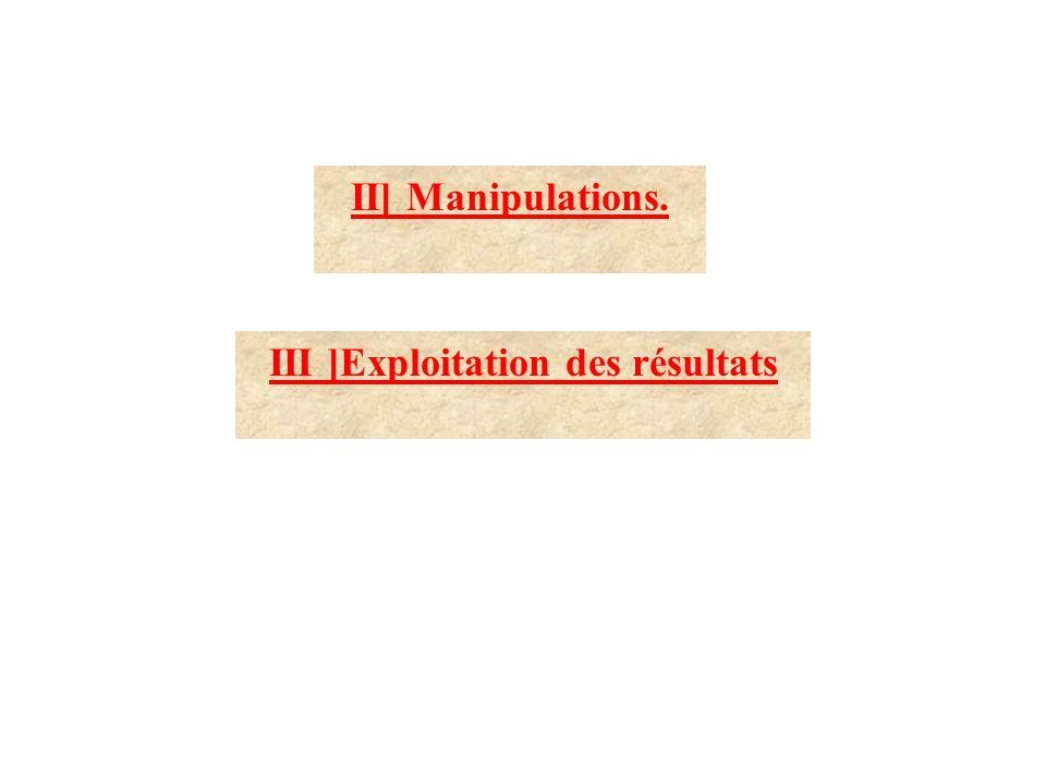 II] Manipulations. III ]Exploitation des résultats