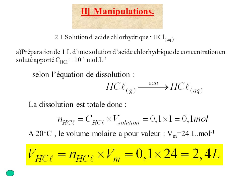 II] Manipulations.2.1 Solution dacide chlorhydrique : HCl ( aq ).