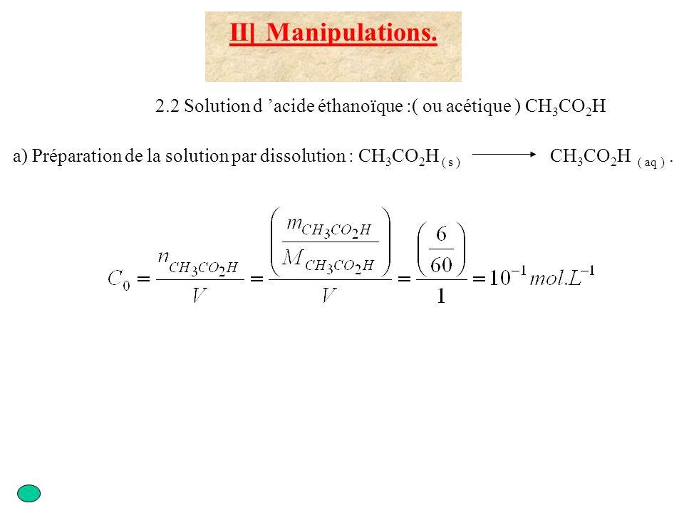 III ]Exploitation des résultats 3.1 Analyse des expériences 1) 2) et 3) d) Calculer le taux d avancement final Solution 1 : x f = 10 -4 mol Solution 2 : x f = 5,5.10 -4 mol Solution 3 : x f = 9,5.10 -4 mol Solution 1 : x max = 10 -4 mol Solution 2 : x max = 5.10 -4 mol Solution 3 : x max = 10 -3 mol Solution 1 : = 1 = 100% Solution 2 : = 1,1 = 110% Solution 3 : = 0,95 = 95% Aux erreurs expérimentales près, on peut considérer la transformation comme totale.
