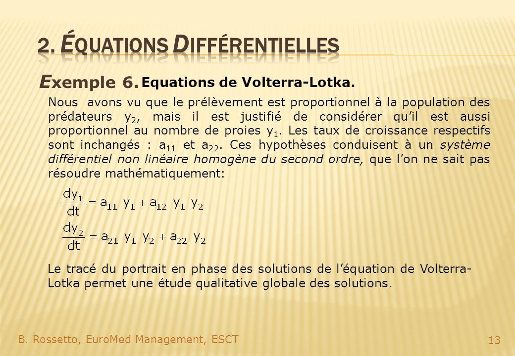E xemple 6. B. Rossetto, EuroMed Management, ESCT 13 Equations de Volterra-Lotka. Nous avons vu que le prélèvement est proportionnel à la population d