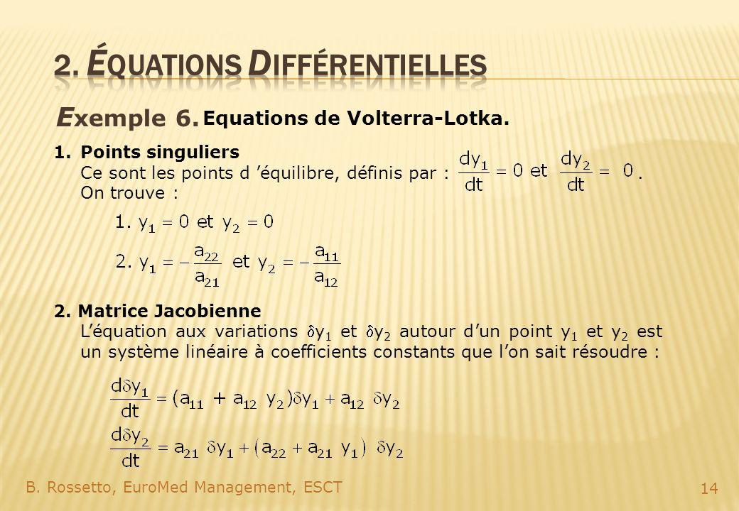 E xemple 6. B. Rossetto, EuroMed Management, ESCT 14 Equations de Volterra-Lotka. 1.Points singuliers Ce sont les points d équilibre, définis par :. O