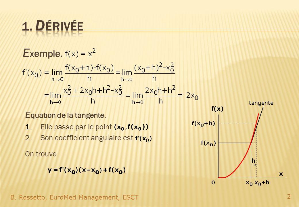 E xemple. B. Rossetto, EuroMed Management, ESCT 2 h E quation de la tangente. 1.Elle passe par le point 2.Son coefficient angulaire est On trouve tang