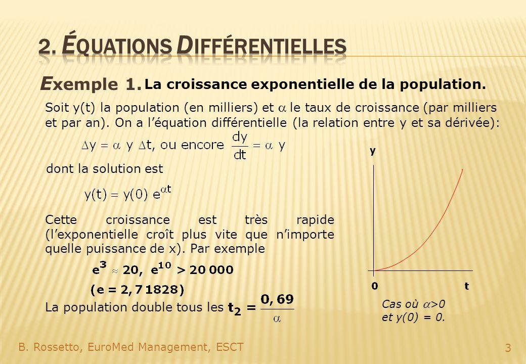 E xemple 1. B. Rossetto, EuroMed Management, ESCT 3 La croissance exponentielle de la population. Soit y(t) la population (en milliers) etle taux de c