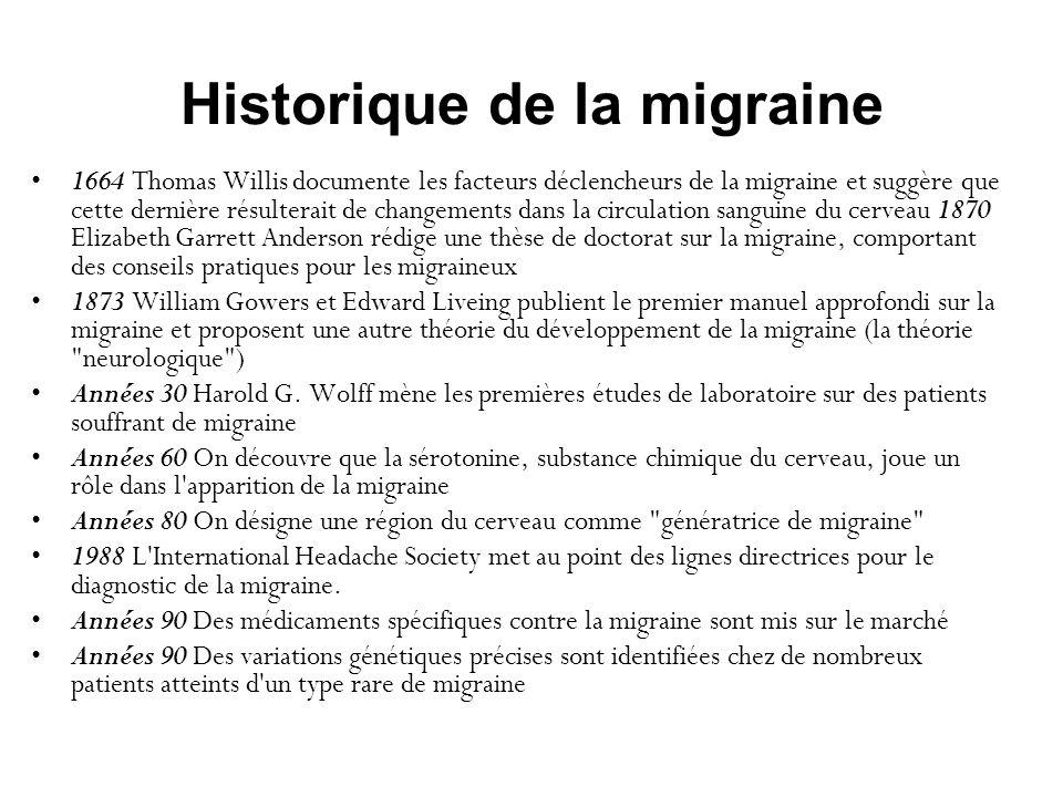 Historique de la migraine 1664 Thomas Willis documente les facteurs déclencheurs de la migraine et suggère que cette dernière résulterait de changemen