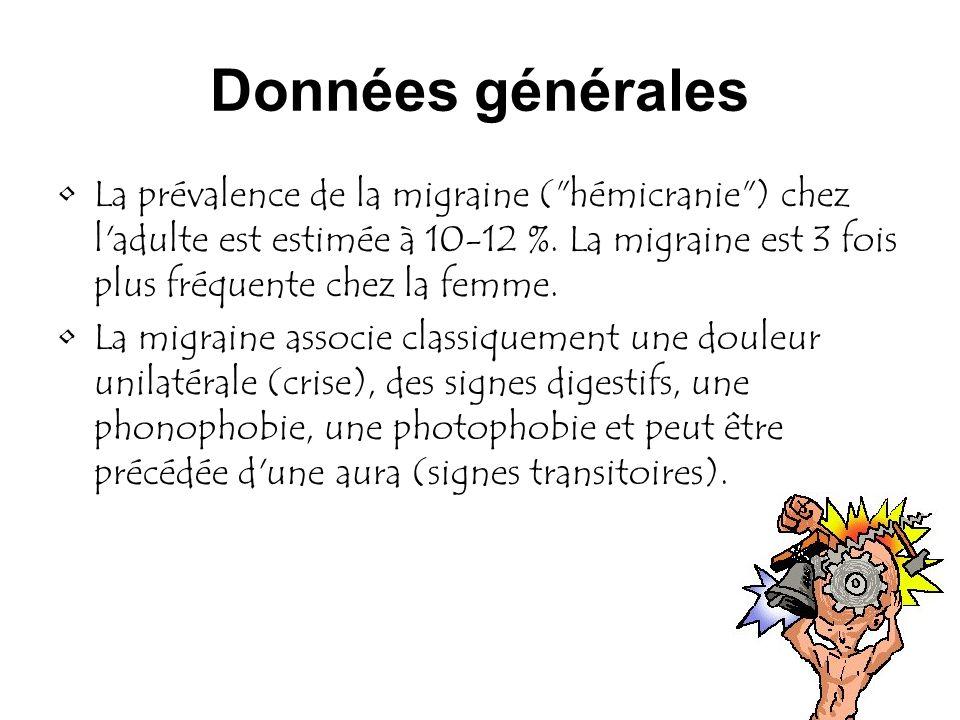 Données générales La prévalence de la migraine (