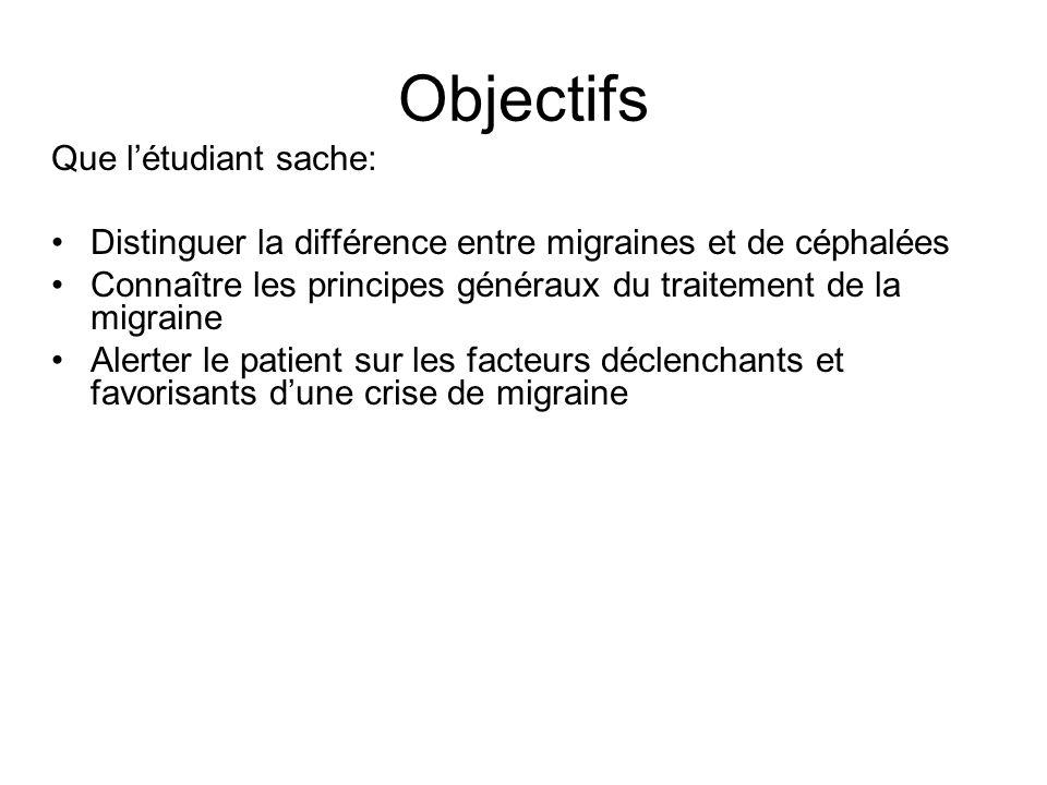 Objectifs Que létudiant sache: Distinguer la différence entre migraines et de céphalées Connaître les principes généraux du traitement de la migraine