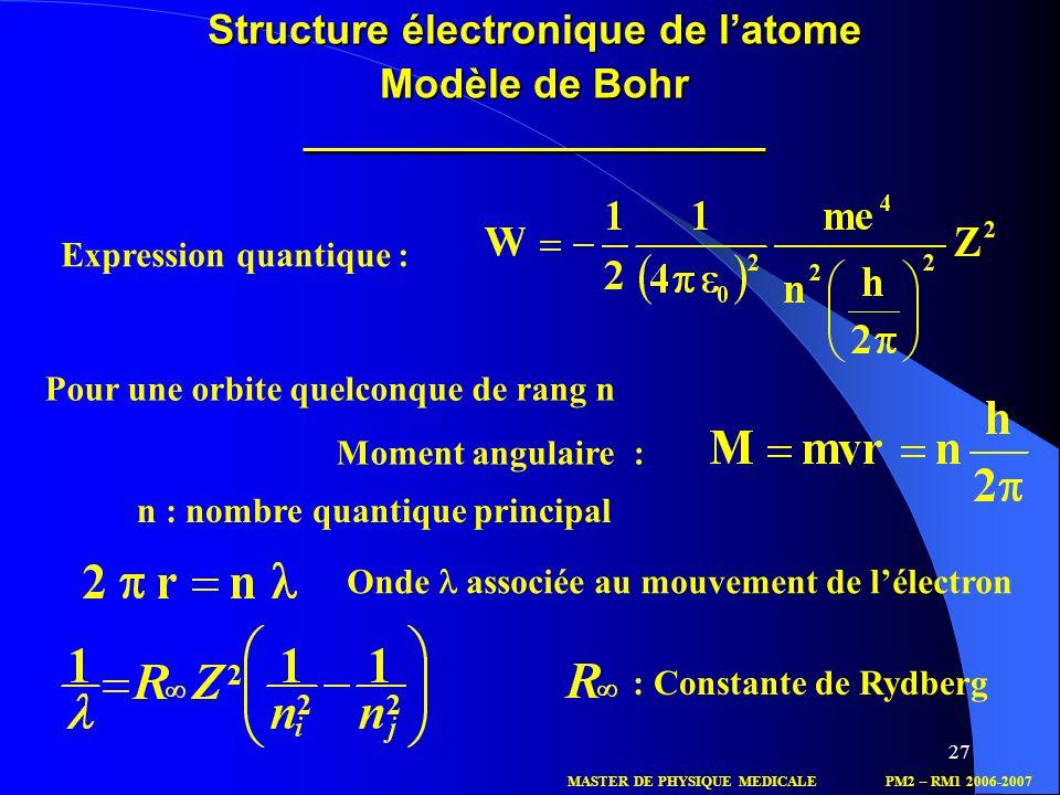 27 Onde associée au mouvement de lélectron Expression quantique : Pour une orbite quelconque de rang n Moment angulaire : MASTER DE PHYSIQUE MEDICALEP