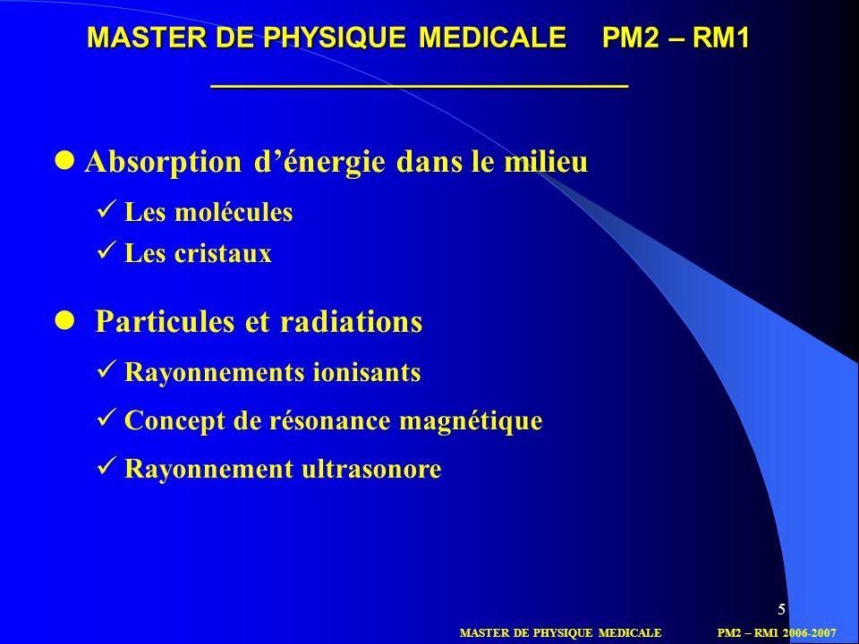 5 Absorption dénergie dans le milieu Les molécules Les cristaux Particules et radiations Rayonnements ionisants Concept de résonance magnétique Rayonn