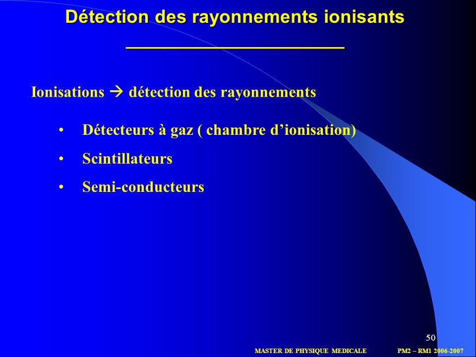 50 Ionisations détection des rayonnements Détection des rayonnements ionisants _____________________ Détecteurs à gaz ( chambre dionisation) Scintilla