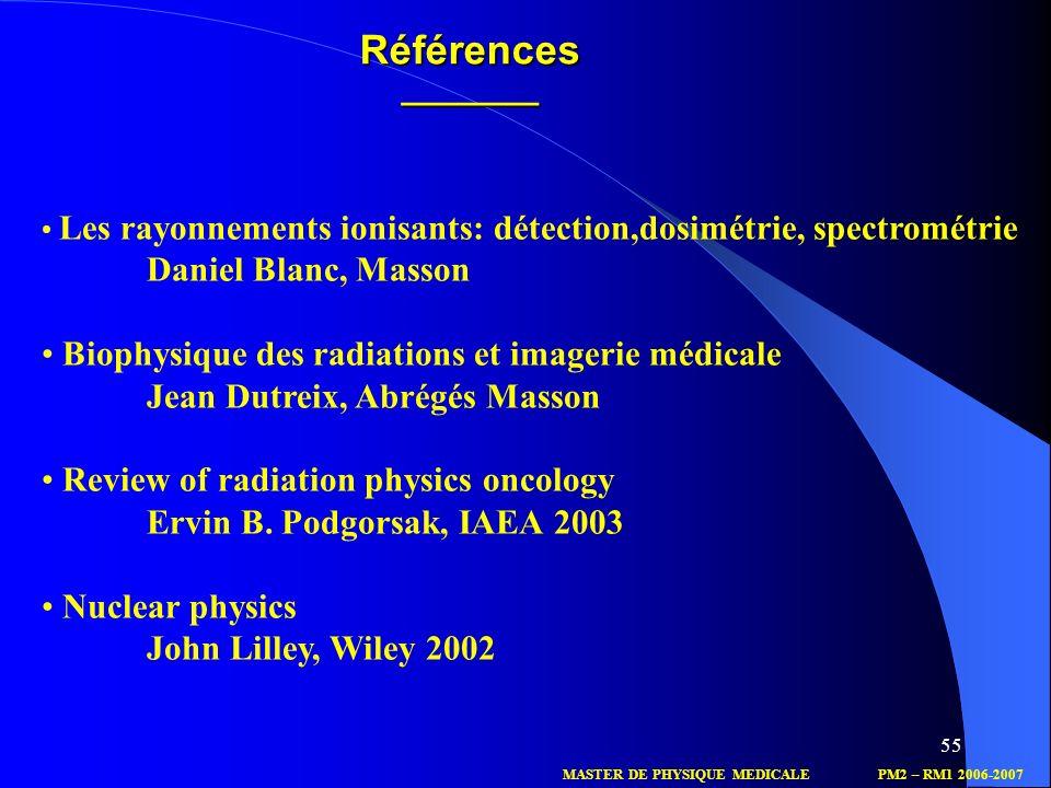 55 MASTER DE PHYSIQUE MEDICALEPM2 – RM1 2006-2007 Références_______ Les rayonnements ionisants: détection,dosimétrie, spectrométrie Daniel Blanc, Mass
