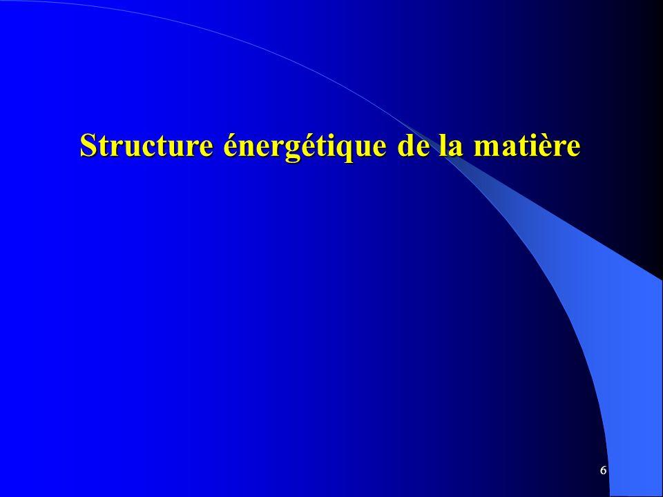 6 Structure énergétique de la matière