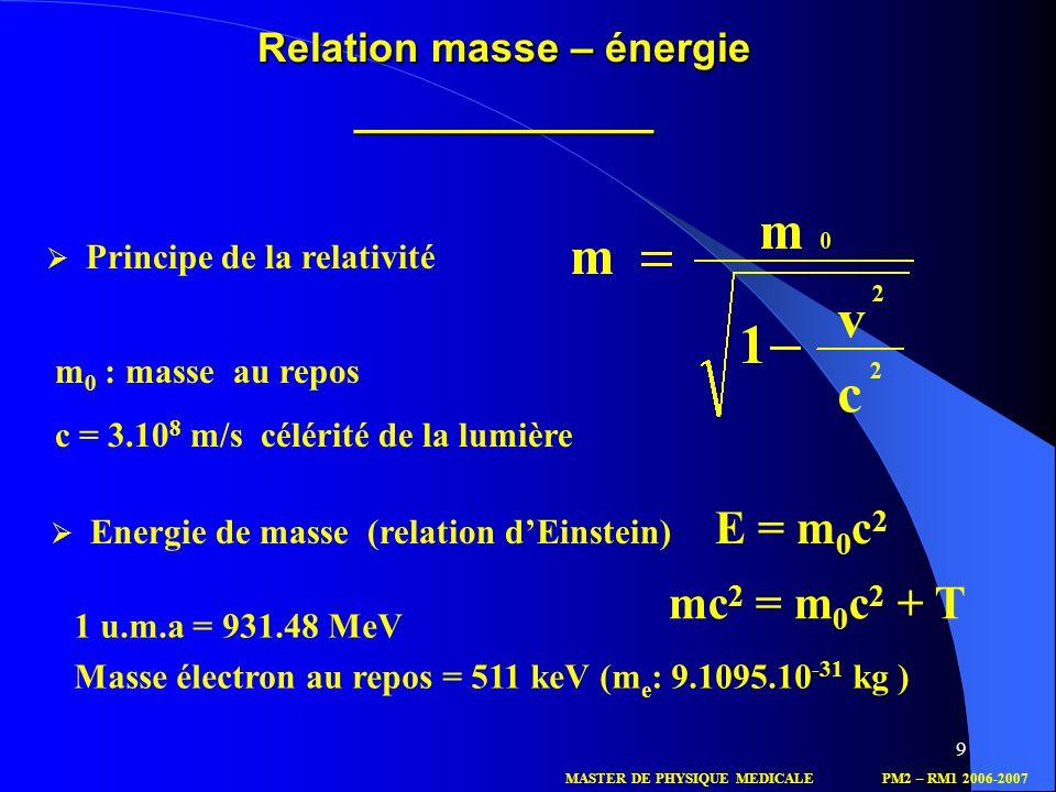 9 Relation masse – énergie _____________ Principe de la relativité m 0 : masse au repos c = 3.10 8 m/s célérité de la lumière Energie de masse(relatio