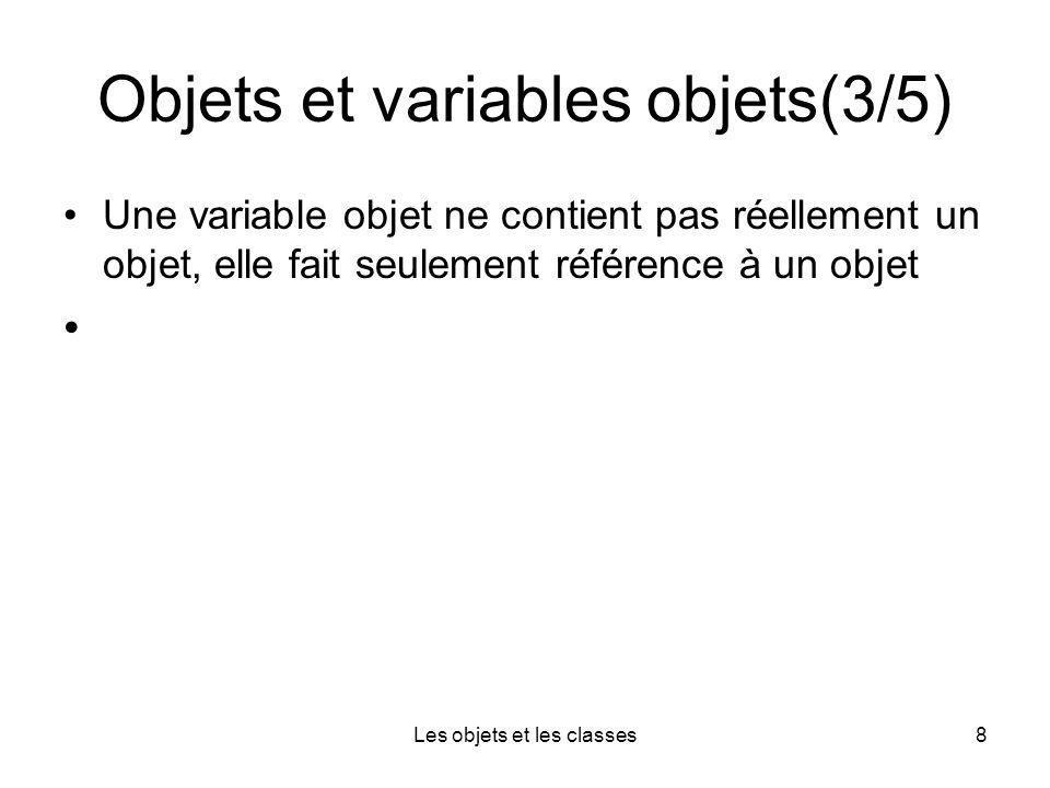Les objets et les classes8 Objets et variables objets(3/5) Une variable objet ne contient pas réellement un objet, elle fait seulement référence à un objet