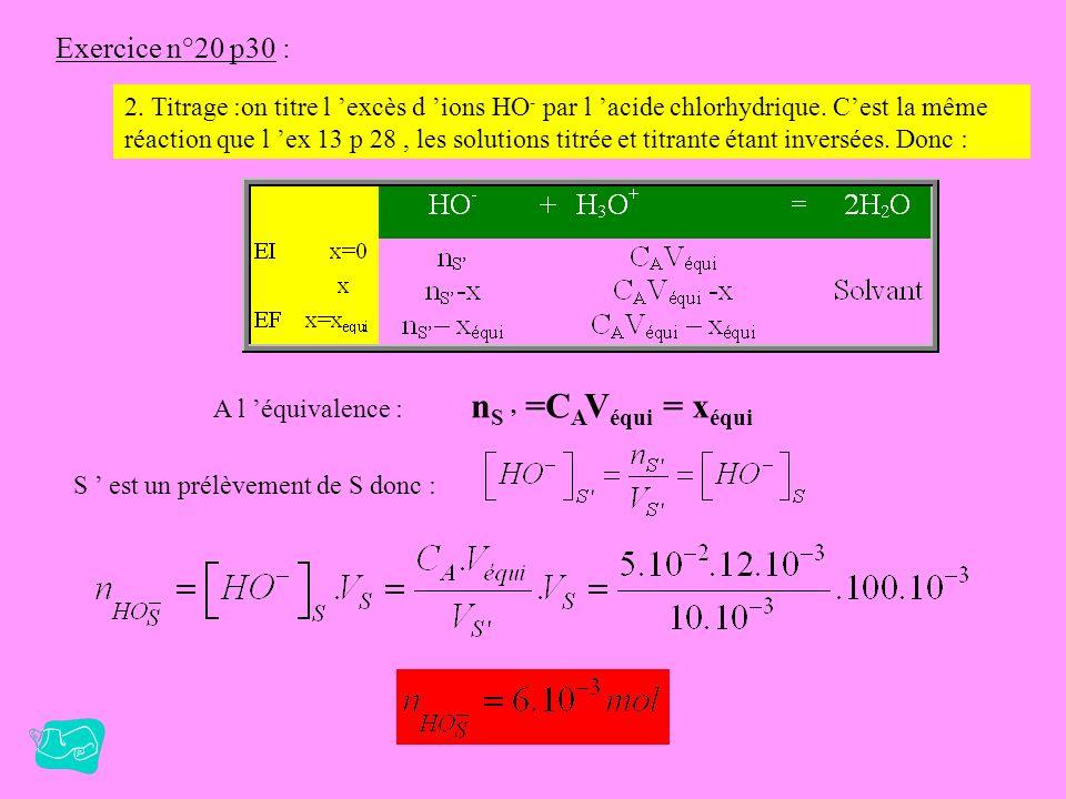 Exercice n°20 p30 : 1. On chauffe pour augmenter la vitesse de réaction. Initialement on a en solution : Si le mélange était stoechiométrique on aurai