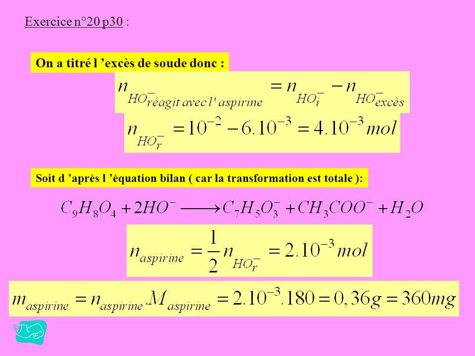 Exercice n°20 p30 : 2. Titrage :on titre l excès d ions HO - par l acide chlorhydrique. Cest la même réaction que l ex 13 p 28, les solutions titrée e