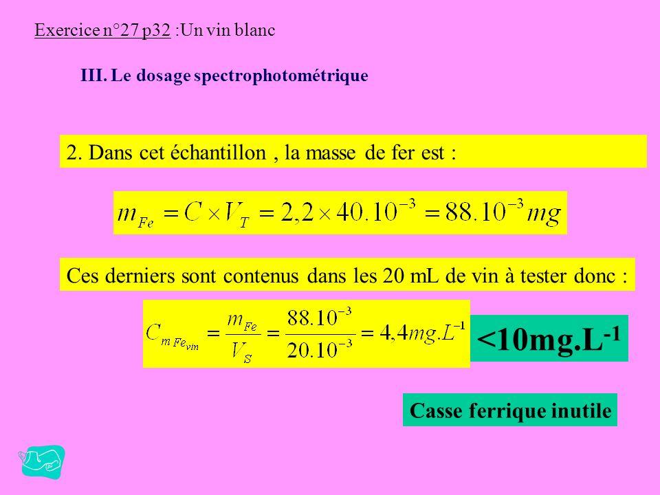 Exercice n°27 p32 :Un vin blanc III. Le dosage spectrophotométrique 1. A est proportionnel à C ( A= k.C ). La courbe A = f(C) est donc une droite. On