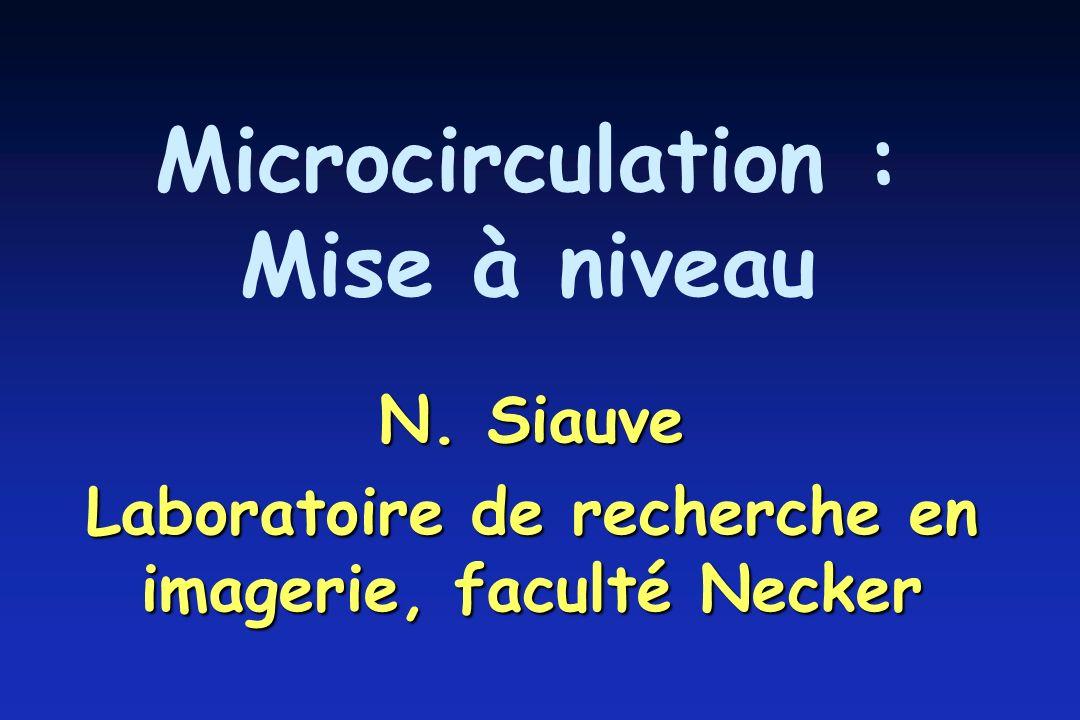 Microcirculation : Mise à niveau N. Siauve Laboratoire de recherche en imagerie, faculté Necker