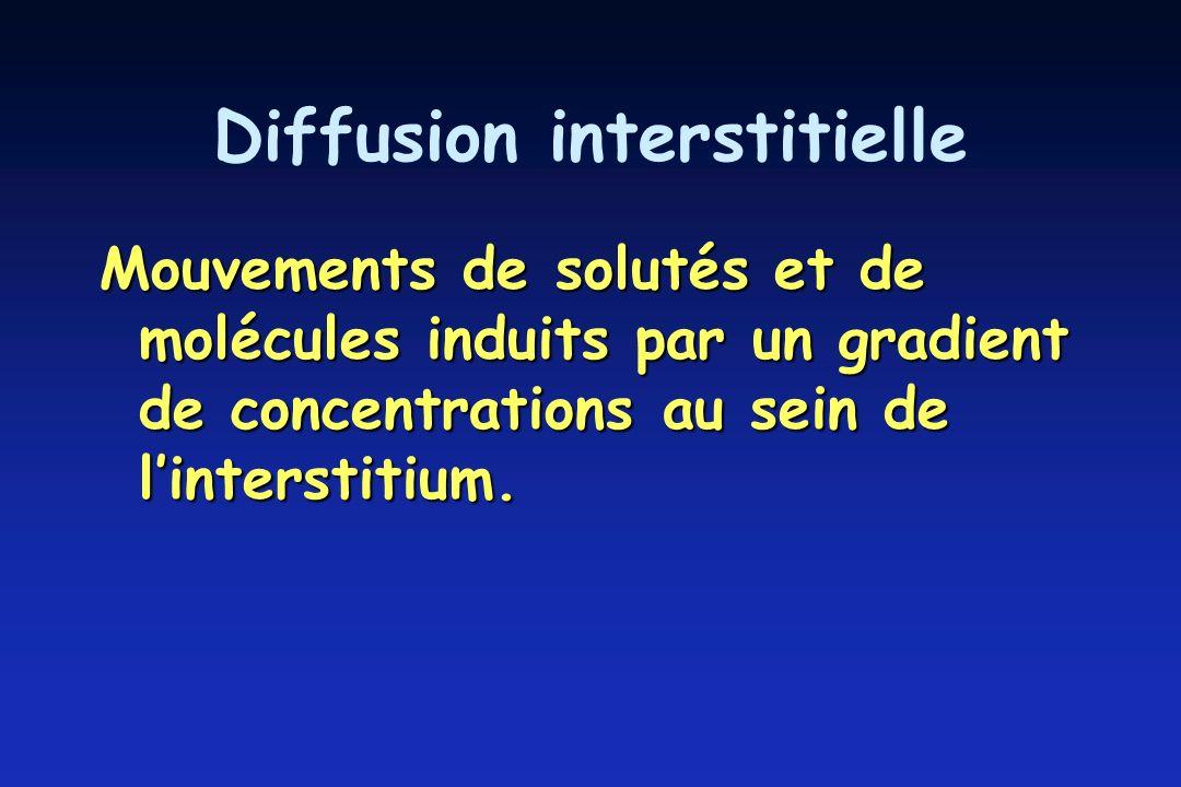 Diffusion interstitielle Mouvements de solutés et de molécules induits par un gradient de concentrations au sein de linterstitium.