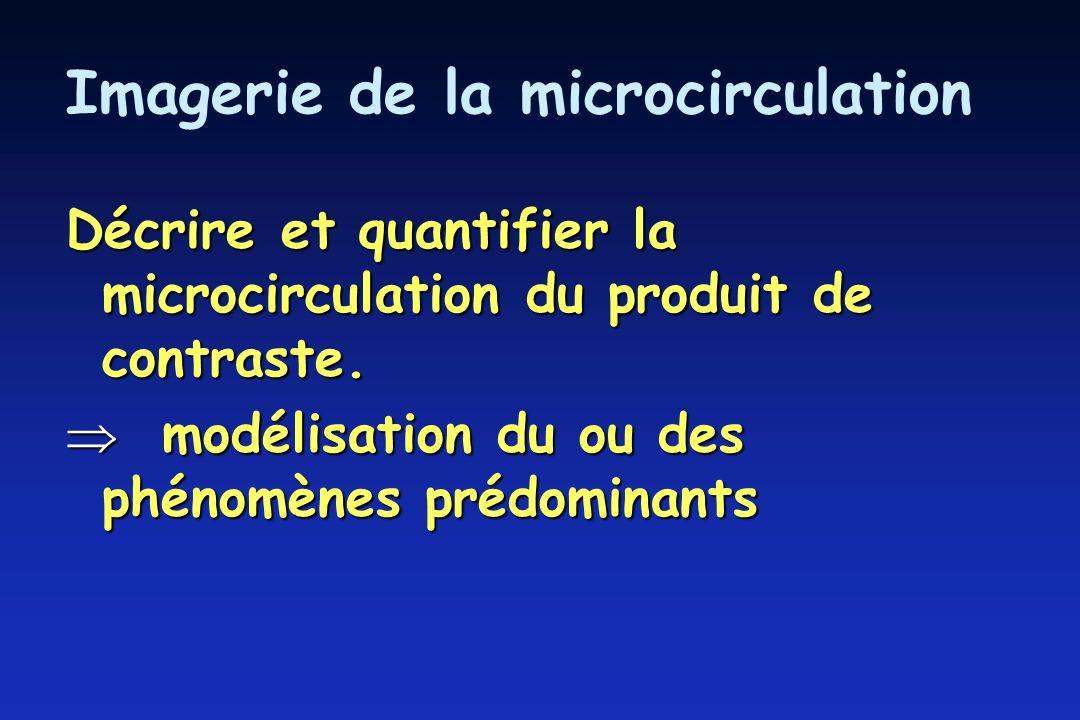 Imagerie de la microcirculation Décrire et quantifier la microcirculation du produit de contraste.