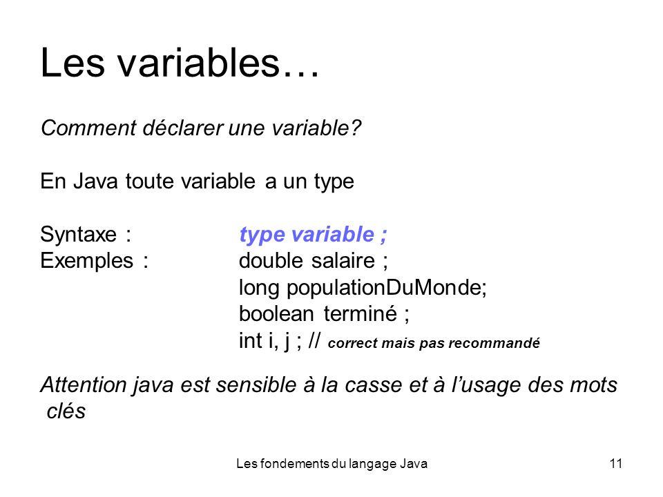 Les fondements du langage Java11 Les variables… Comment déclarer une variable.