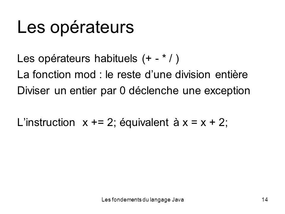 Les fondements du langage Java14 Les opérateurs Les opérateurs habituels (+ - * / ) La fonction mod : le reste dune division entière Diviser un entier par 0 déclenche une exception Linstruction x += 2; équivalent à x = x + 2;