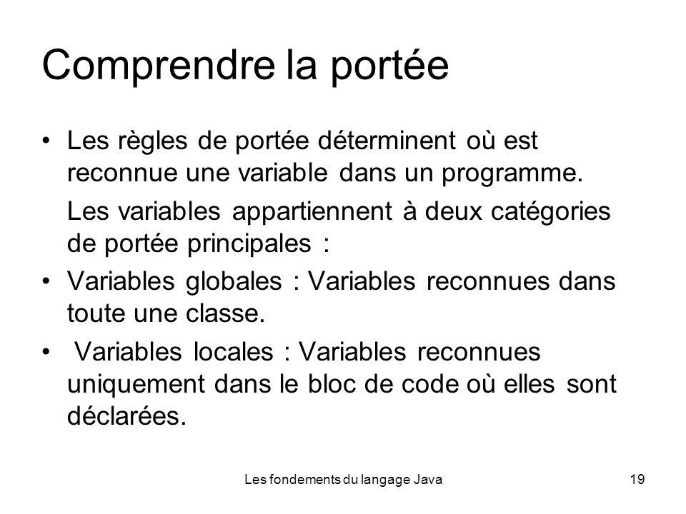 Les fondements du langage Java19 Comprendre la portée Les règles de portée déterminent où est reconnue une variable dans un programme.
