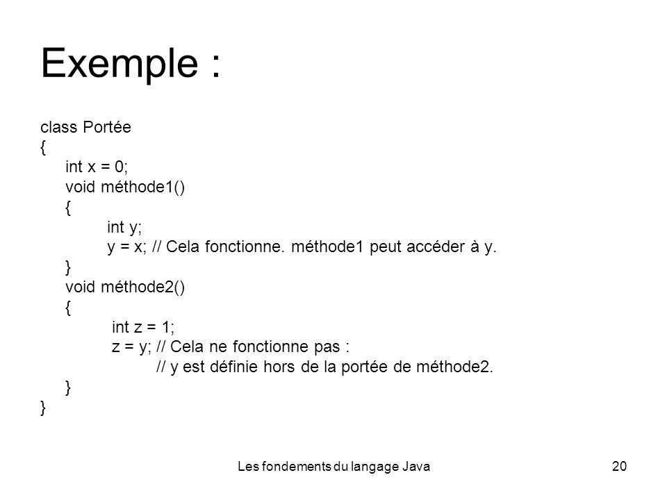 Les fondements du langage Java20 Exemple : class Portée { int x = 0; void méthode1() { int y; y = x; // Cela fonctionne.