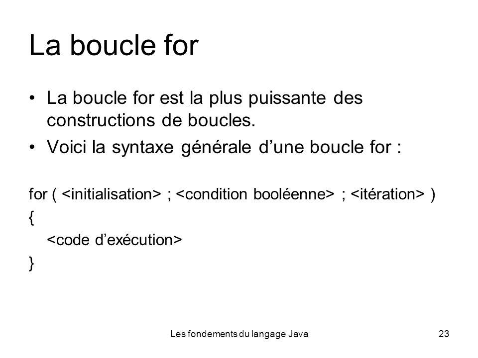 Les fondements du langage Java23 La boucle for La boucle for est la plus puissante des constructions de boucles.