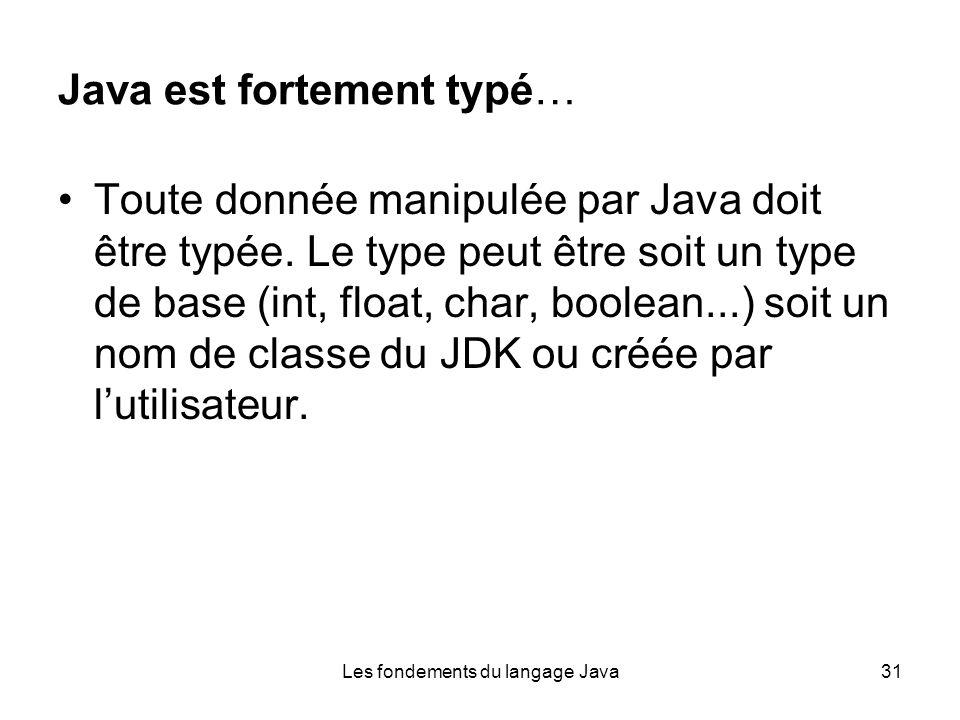 Les fondements du langage Java31 Java est fortement typé… Toute donnée manipulée par Java doit être typée.