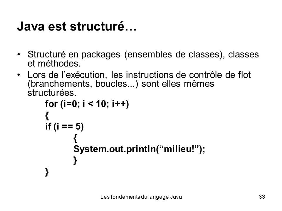 Les fondements du langage Java33 Java est structuré… Structuré en packages (ensembles de classes), classes et méthodes.